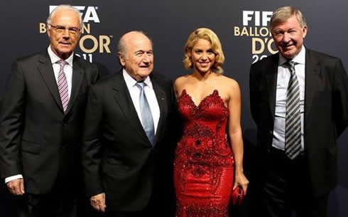 Beckenbauer, Blatter, Shakira and Sir Alex Ferguson at FIFA Balon d'Or 2011-2012 gala/ceremony