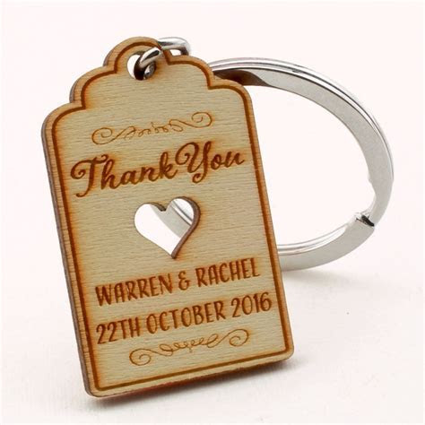 Personalized Engraved Natural Wooden Wedding Favor Key