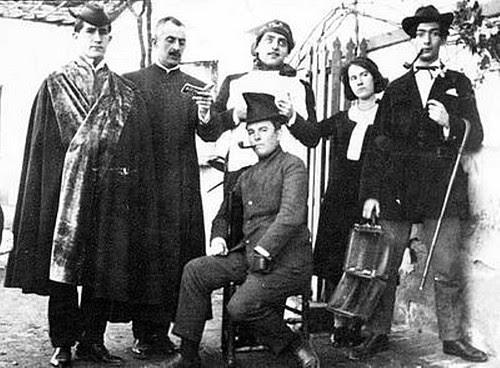 Pepín Bello, José Moreno Villa, Luis Buñuel, Juan Vicens, María Luisa González, Salvador Dalí y José María Hinojosa en Toledo (Venta de Aires) en 1924