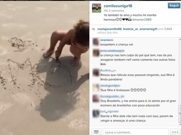 Após ataques, Zuñiga apaga foto e internautas pedem 'respeito' a filha
