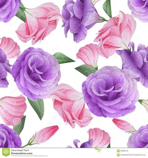 Watercolor Seamless Pattern With Lisianthus Stock