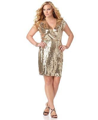 MICHAEL Michael Kors Plus Size Dress, Cap Sleeve Sequined