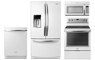 white and stainless appliances refridgerator fridge stove oven dishwasher