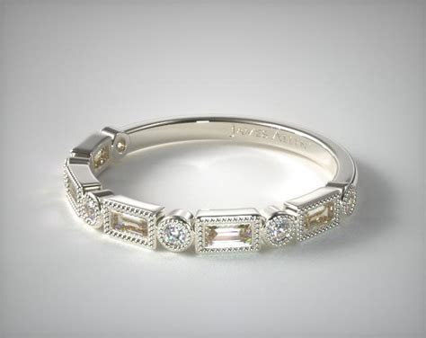 Round and Baguette Milgrain Diamond Wedding Ring   14K