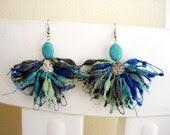 Blue tonesTurquoise Earrings moss green,dark blue,dark grey light blue mix - seragun