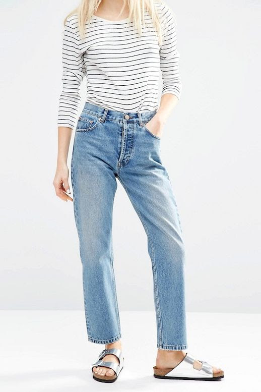 Le Fashion Blog Striped Tee Vintage Inspired Jeans Under $50 Budget Friendly Metallic Sandals