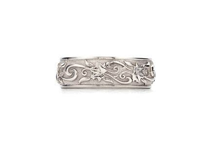 Detailed. An intricately detailed 14 karat white gold ring