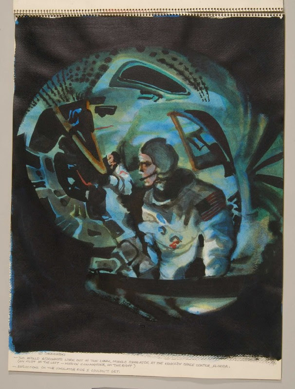 painted fish-eye view of astronauts in simulator space craft