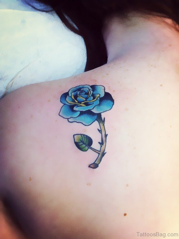 25 Beautiful Blue Rose Shoulder Tattoos