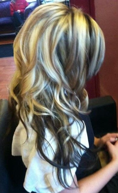 Brown hair with blonde highlights! Want this!