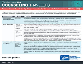 Orientação aos viajantes: mulheres e homens em idade reprodutiva que pensam em viajar para áreas onde há transmissão ativa do zika vírus (ZIKV) - miniatura de ficha técnica