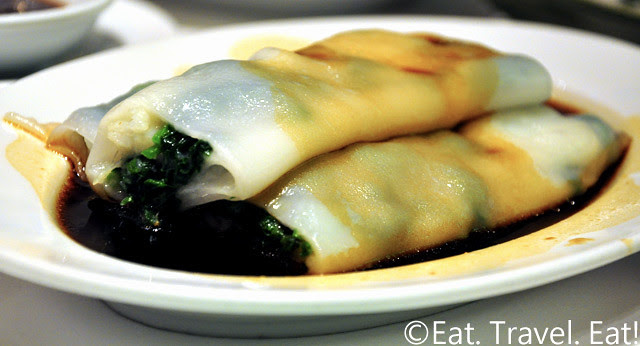 Zen Chinese Cuisine,Hong Kong- Scallop and Pea Sprouts Rice Noodle Roll