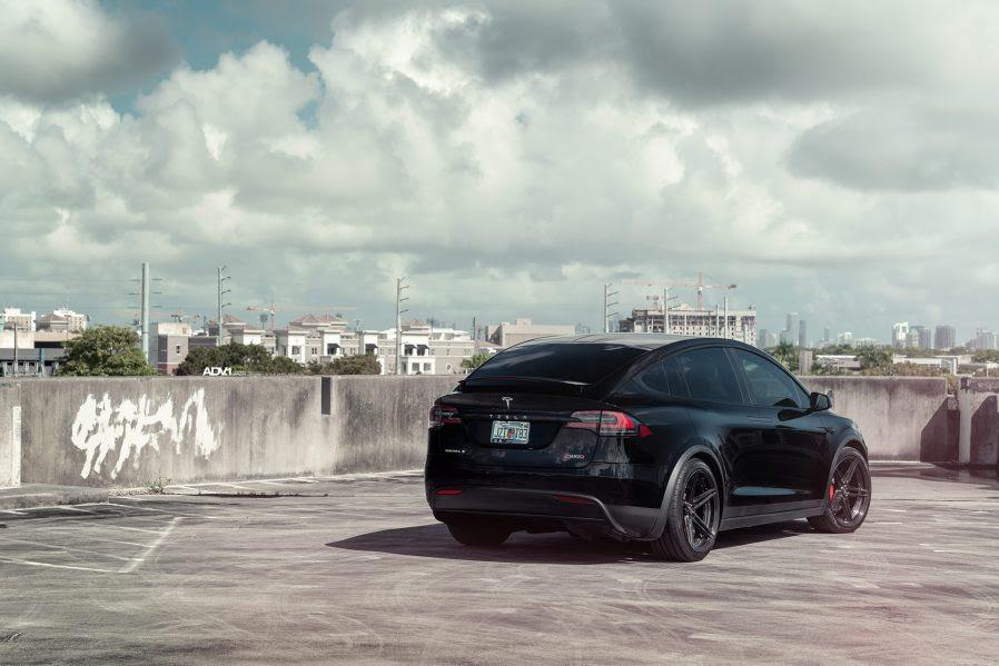 Black Tesla Model X Looks Menacing On Adv 1 Advanced Wheels Liberty Plugins
