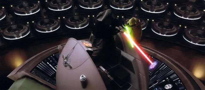 Yoda confronts Darth Sidious in the Senate chamber.