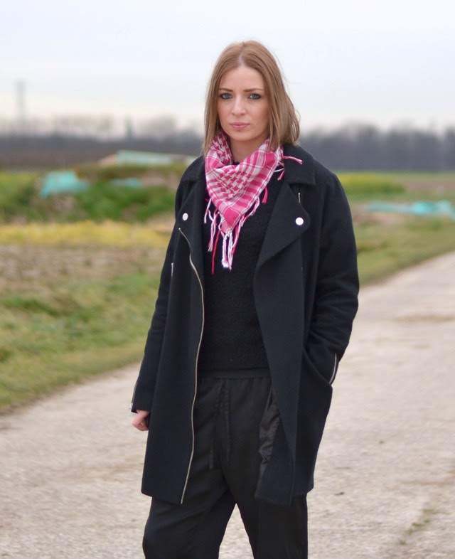 asos cocoon biker coat arafat scarf uknown h&m fluffy sweater h&m trend silk trousers adidas adicolor W5 superstar outfit post fashion blogger turn it inside out belgium