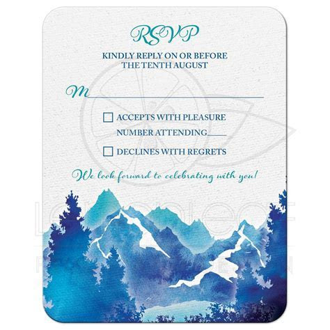 Mountain Wedding RSVP Card   Watercolor   Royal Blue Turquoise