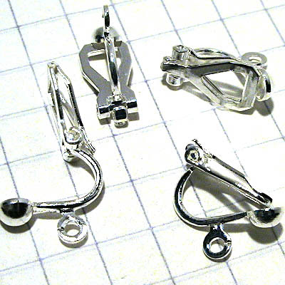 23611074 Findings - Earring - Clip-on -  with Ring - Silverplated (5 pairs)