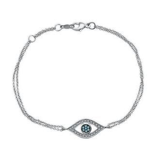Helzberg Diamonds Evil Eye Bracelet in Sterling Silver