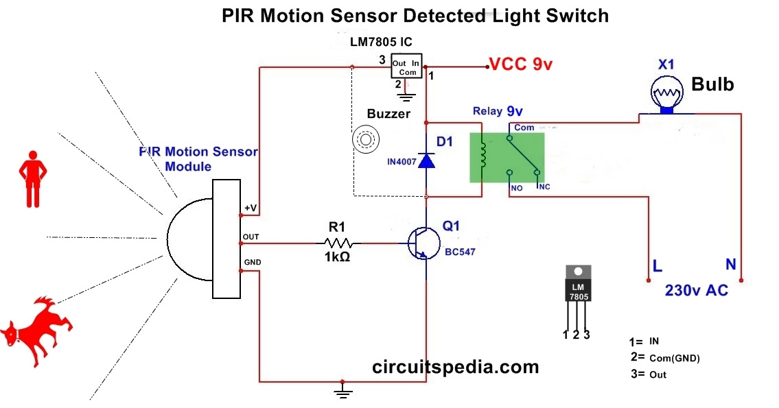 Automatic Room Light Using Pir Motion Sensor Detector