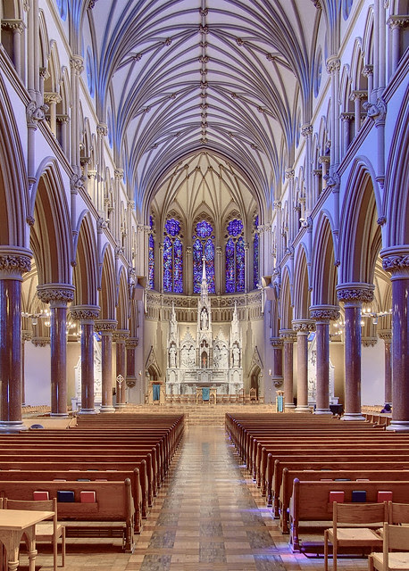 Nave of Saint Francis Xavier Roman Catholic Church, at Saint Louis University, in Saint Louis, Missouri, USA