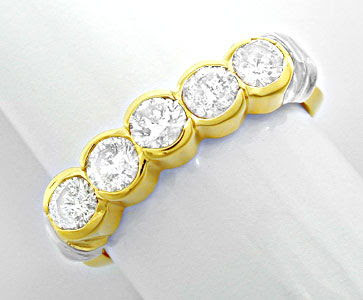 Foto 1, Halbmemory-Brillant-Ring massiv Bicolor 0,85 Luxus! Neu, S8478