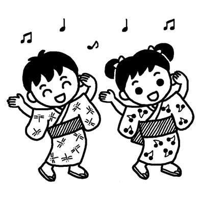 盆踊り2夏祭り夏の行事保育無料白黒イラスト素材