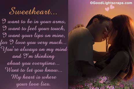 Sweetheart I Want To Be In Your Arms Love Quote Quotespicturescom