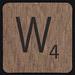 Scrabble Coaster Letter W