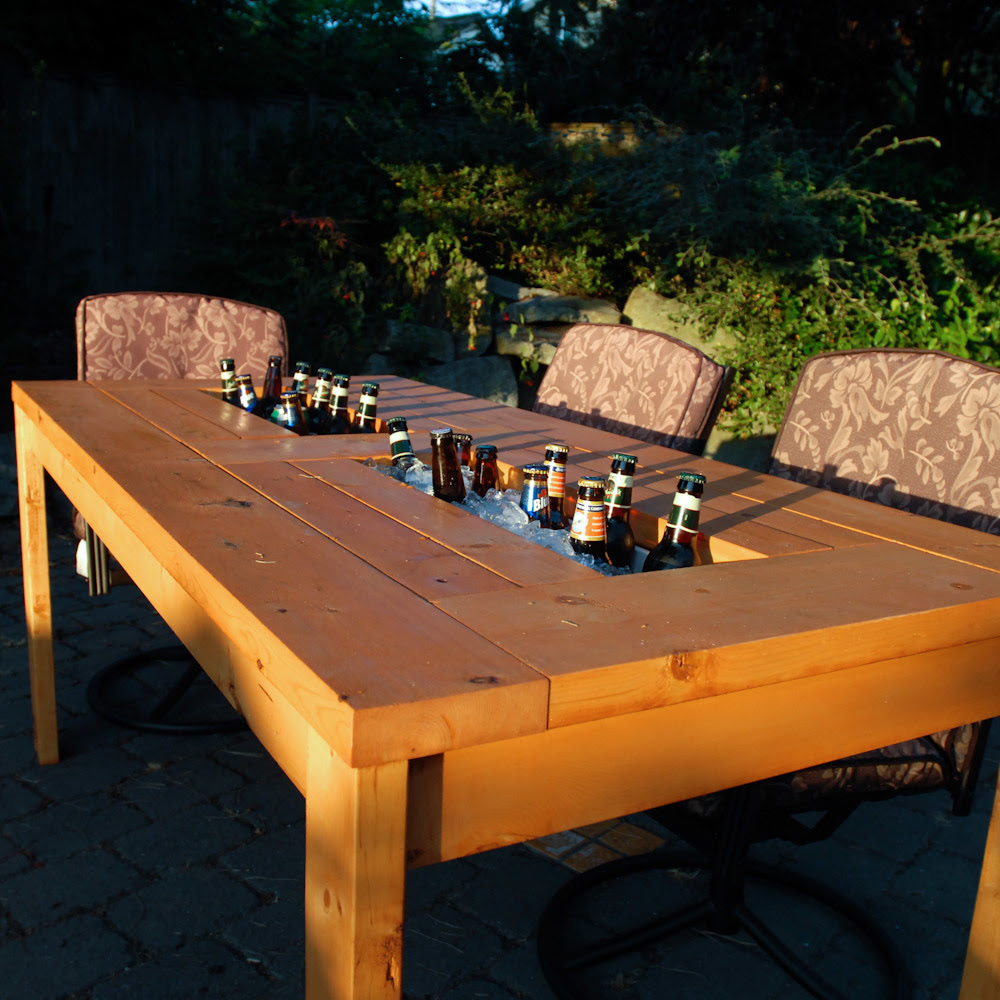 DIY Outdoor Table with Cooler