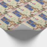 cute puppy christmas decorations santa's sleigh wrapping paper