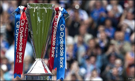 The Scottish Premier League trophy in Rangers' colours in May