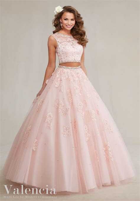 piece tulle  lace quinceanera dress style