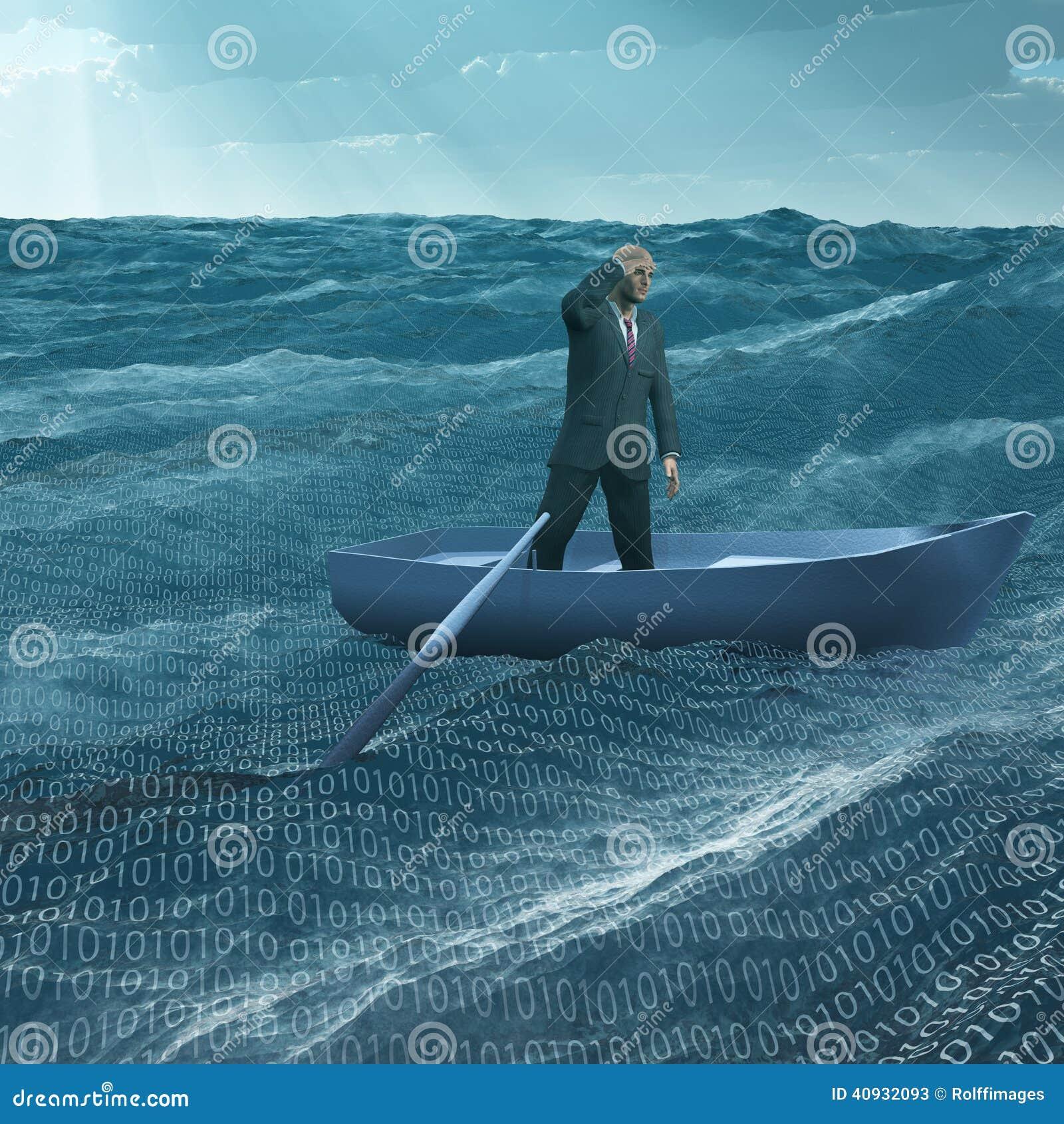 Man Adrift In Tiny Boat Stock Illustration - Image: 40932093