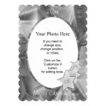 Personalize Your Photo: Gray Christmas Oval Frame 5x7 Paper Invitation Card