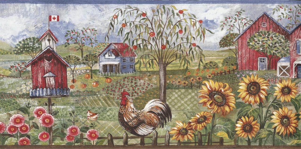 Wallpaper Border Rooster Sunflower Birdhouse Barn Farm | eBay