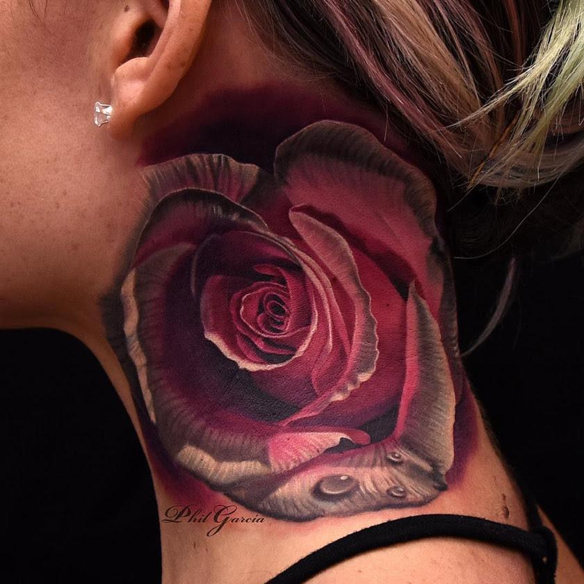 Pink White Rose On Girls Neck Best Tattoo Design Ideas