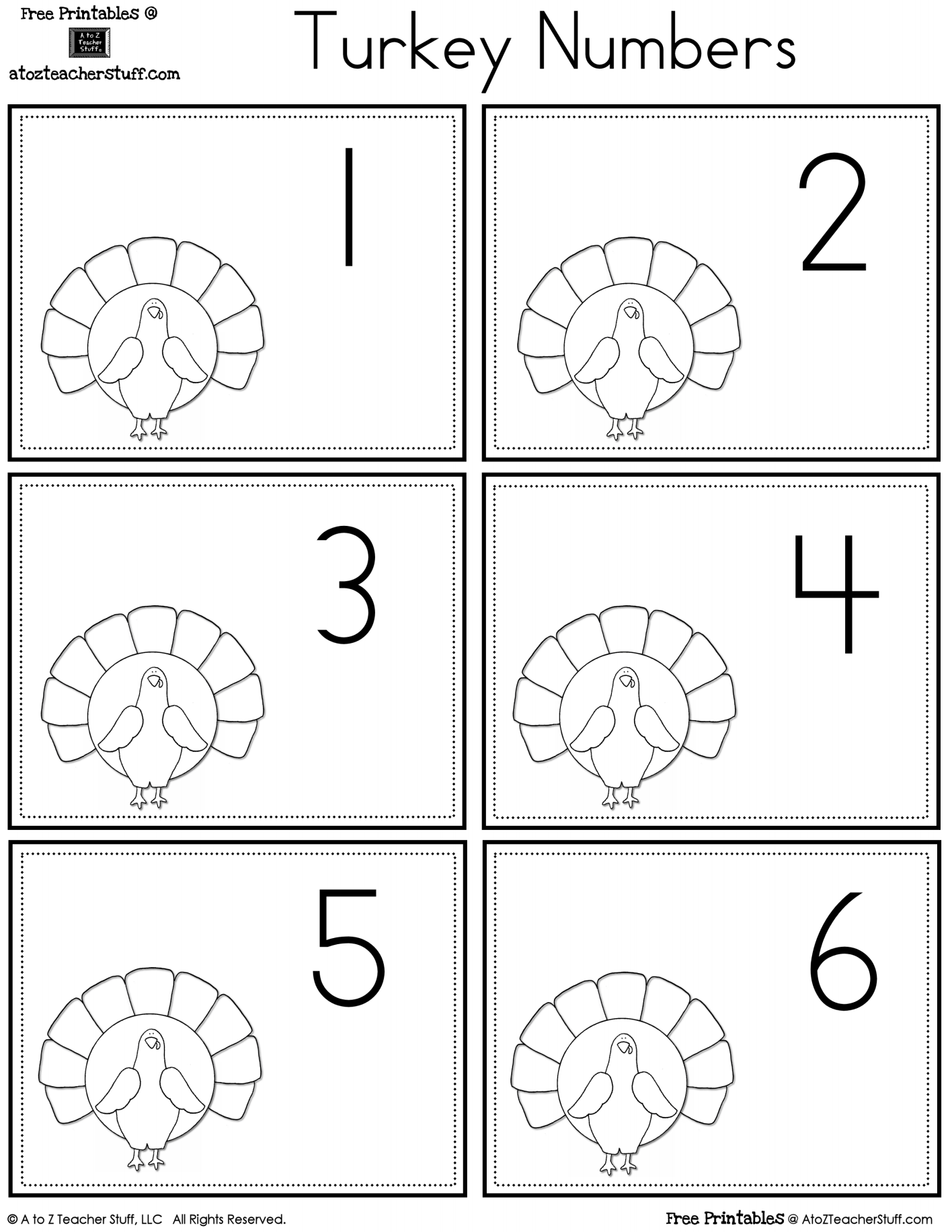 Turkey Number Cards   A to Z Teacher Stuff Printable Pages ...