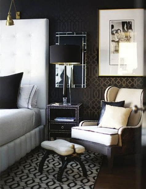 Black, chrome, brass, nailhead bedside table, large white