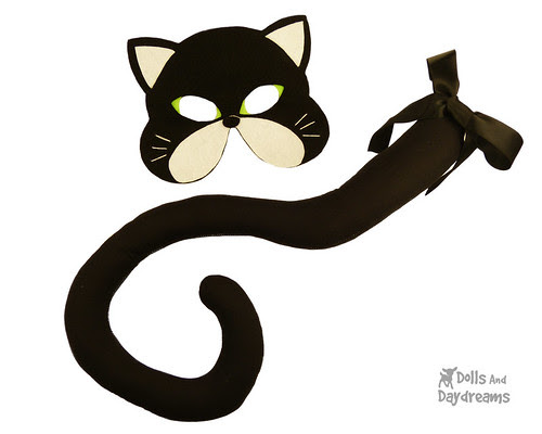 Cat Mask Tail Sewing Pattern Halloween black copy
