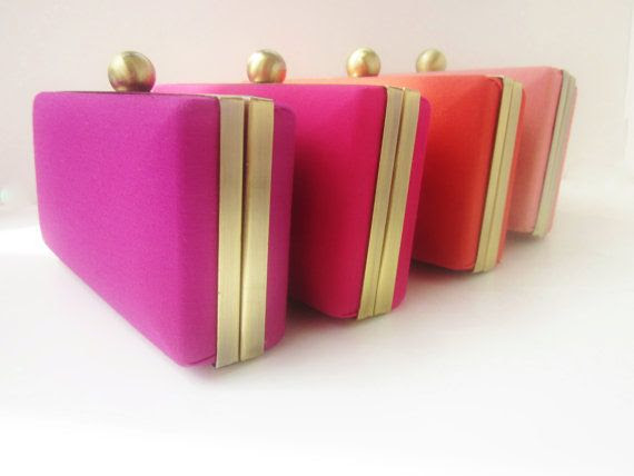 bridesmaid clutch set, pink bridesmaid clutches, salmon clutches, coral clutches, navy weddings, gray weddings