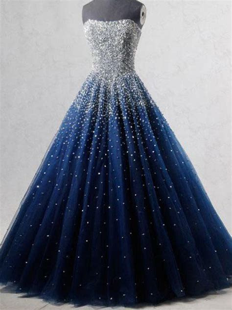 Sparkly Prom Dresses Strapless Dark Navy Sequins Long