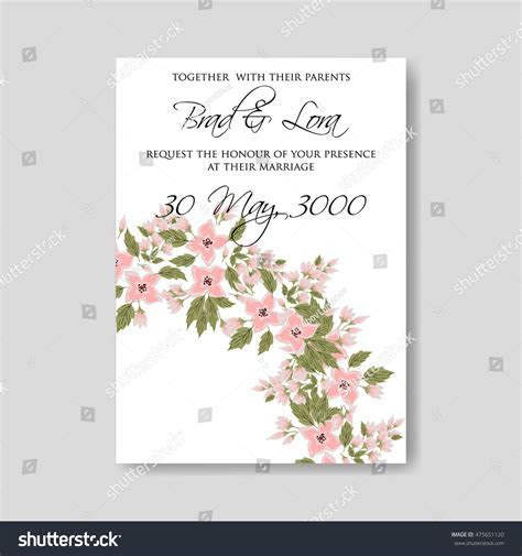 Wedding Ceremony Invitation Card Tropical Floral Stock