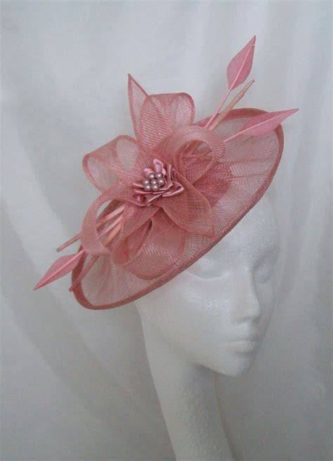 Dusky Pink Sinamay Saucer & Loop Arrow Feather and Pearl