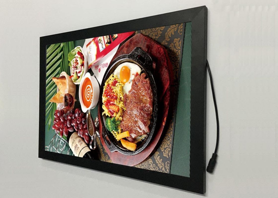 A2 Flat Snap Frame Led Light Box Black Color Backlit For Restaurant