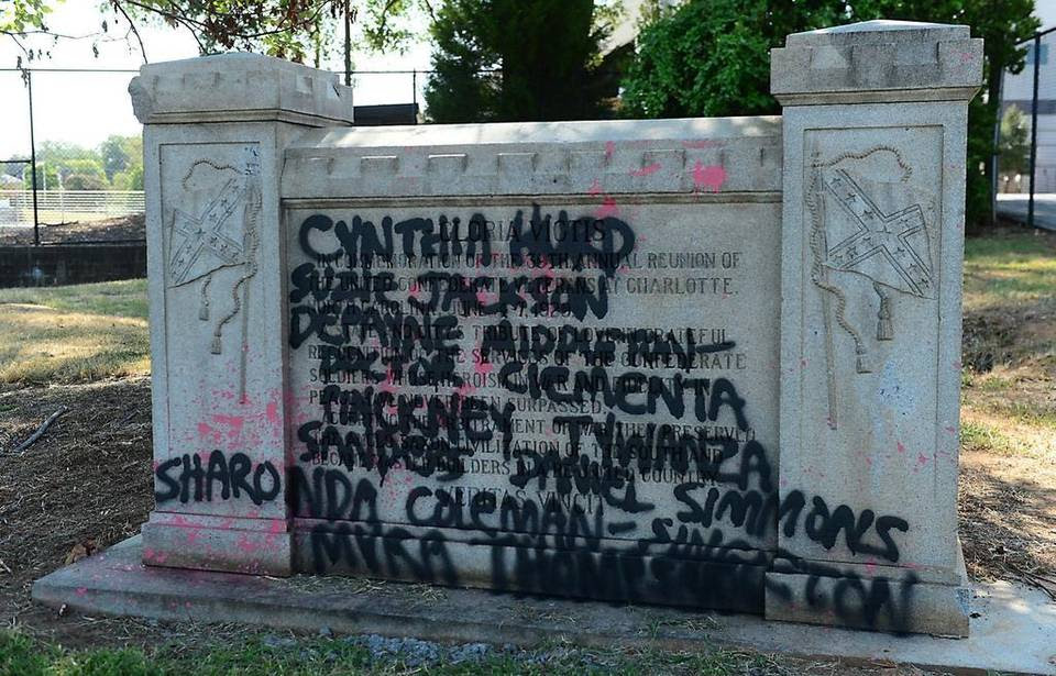 A Confederate monument in Charlotte was vandalized for the second time in three weeks. The Confederate monument on North Kings Drive, between the Grady Cole Center and Memorial Stadium, was spray painted on both sides.