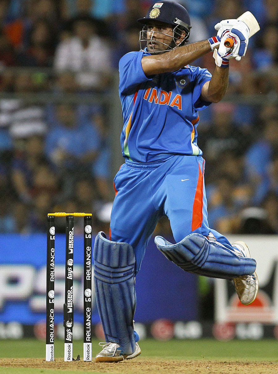 MS Dhoni slaps one through the off side