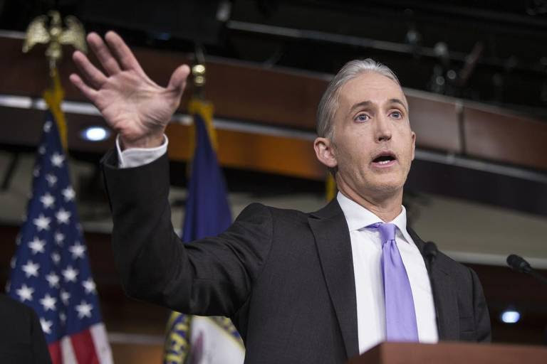 Rep. Trey Gowdy (R-S.C.), chairman of the House Select Committee on Benghazi, at a news conference with fellow committee members where they addressed the findings in their final report, on Capitol Hill in Washington, June 28, 2016. Ending one of the longest, costliest and most bitterly partisan congressional investigations in history, the committee issued its report Tuesday finding no new evidence of culpability or wrongdoing by Hillary Clinton in the 2012 attacks in Libya that left four Americans dead.