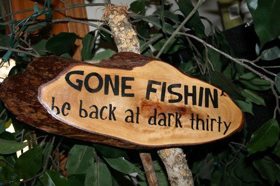 Cedar Gone Fishin' rustic escanaba Wood  Sign cedar signs Rustic