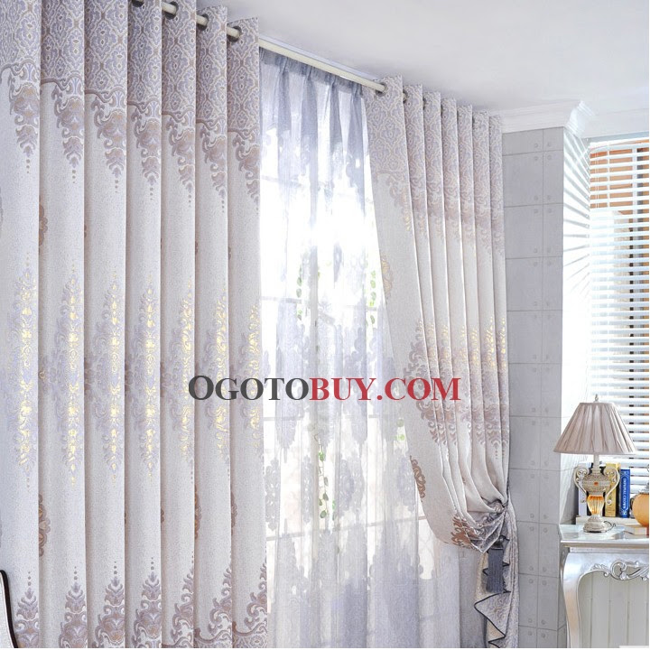 Luxury European Patterns Silver Artificial Fiber and Polyester ...