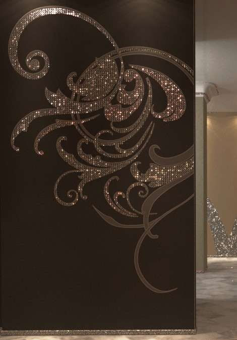 Shimmering Wall Decals - Tiffany Wallcoverings Feature Crystallized Swarovski Elements (GALLERY) (interesting idea to add interest to furniture)